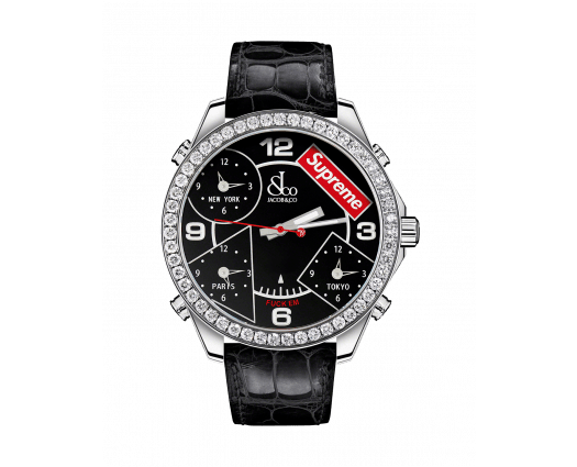 SUPREME FOUR TIME ZONE Black lacquered dial (40mm)