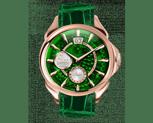 Palatial Classic Manual Big Date Green Mineral Crystal Dial - Rose Gold