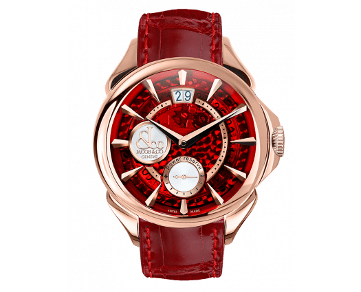 Palatial Classic Manual Big Date Red Mineral Crystal Dial - Rose Gold Case