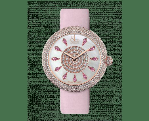 Brilliant Half Pave Rose Gold Pink Sapphires 38mm