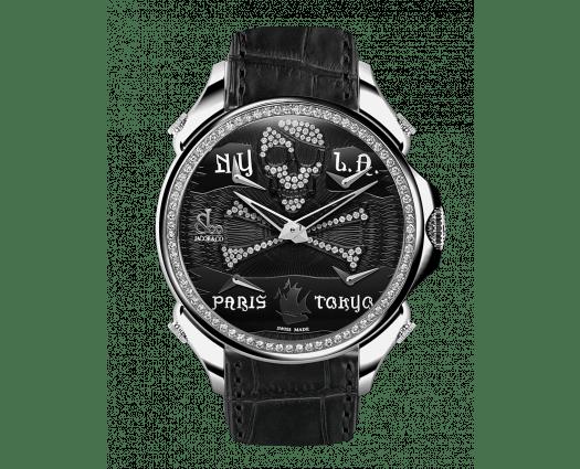 Palatial Five Time Zone Pirate Steel Diamond Set Dial & Bezel