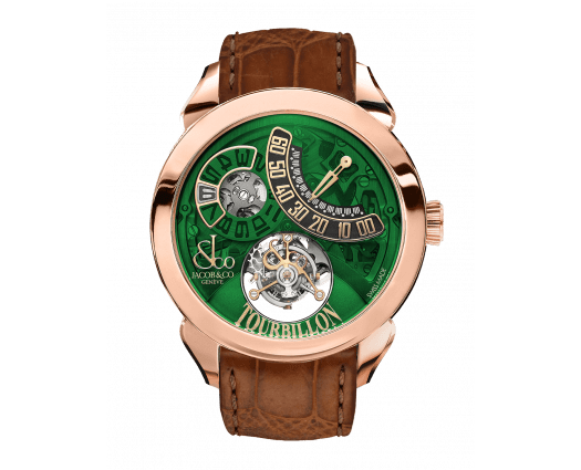 Palatial Flying Tourbillon Jumping Hours Rose Gold (Green Mineral Crystal)