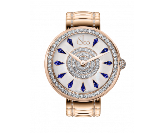 Brilliant One Row Rose Gold Couture Blue Sapphires 38mm