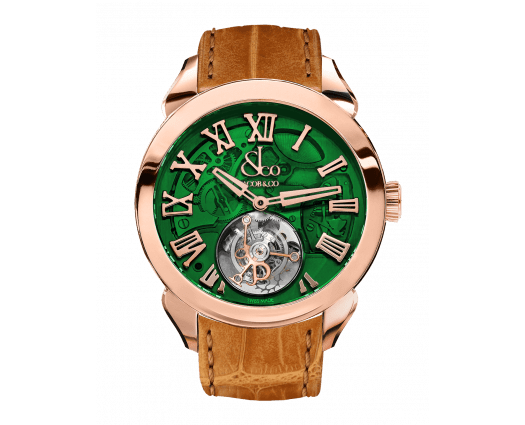 Palatial Flying Tourbillon Hours & Minutes Rose Gold (Green Mineral Crystal)