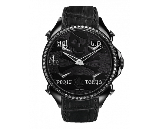Palatial Five Time Zone Pirate Black PVD Black Diamond Set Bezel