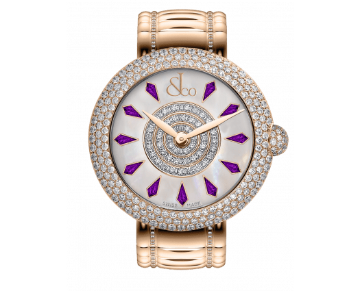 Brilliant Half Pave Rose Gold Couture Amethyst Sapphires 44mm