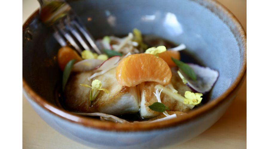 COBIA with dashi broth, enoki mushroom, tangerine, radish, ginger, thai basil