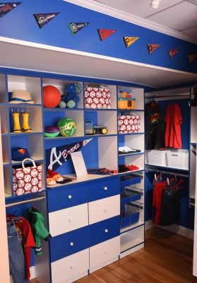 White and Blue Boys Custom Closet