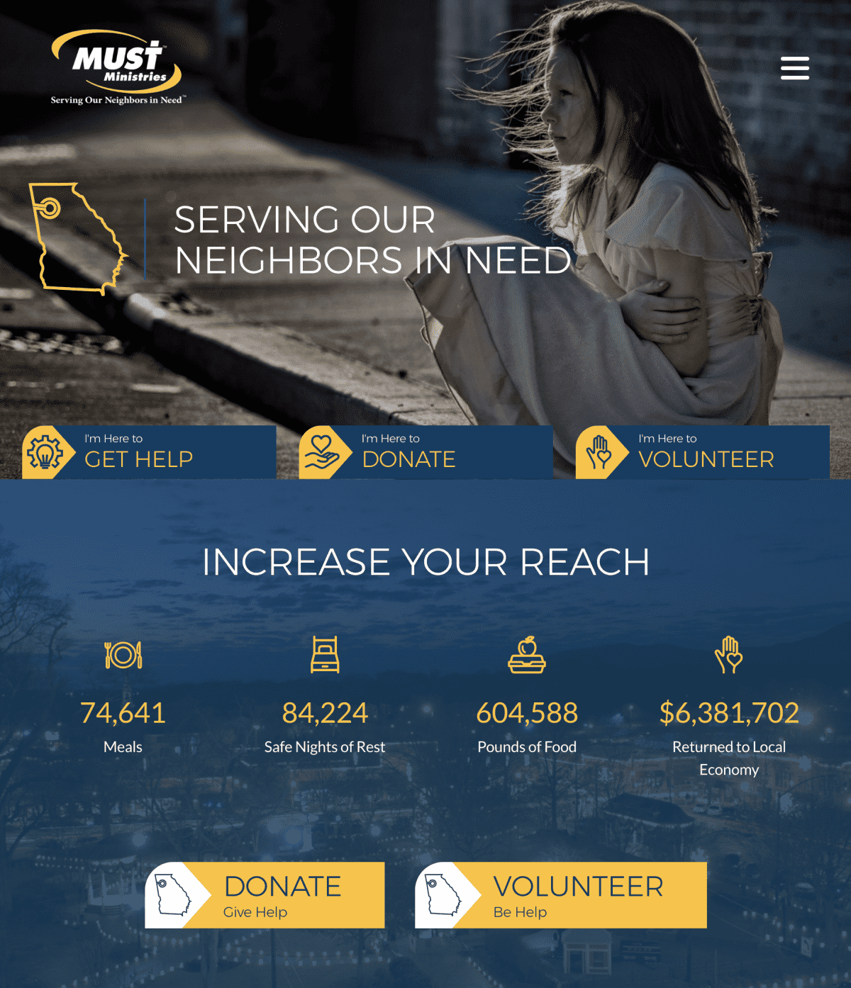 Image of website for MUST Ministries