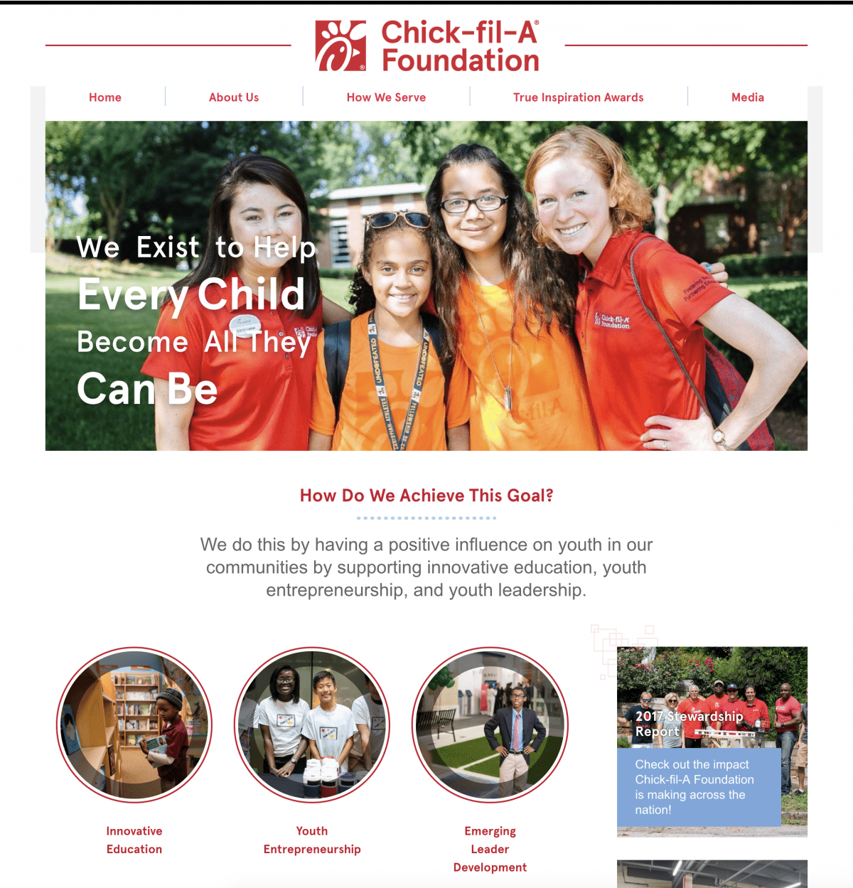 Image of website for Chick-Fil-A Foundation