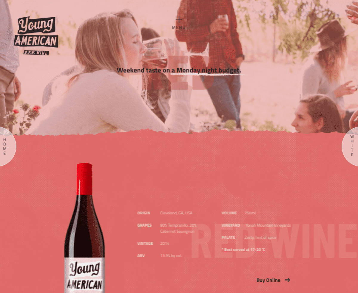 Image of website for Young American Wine