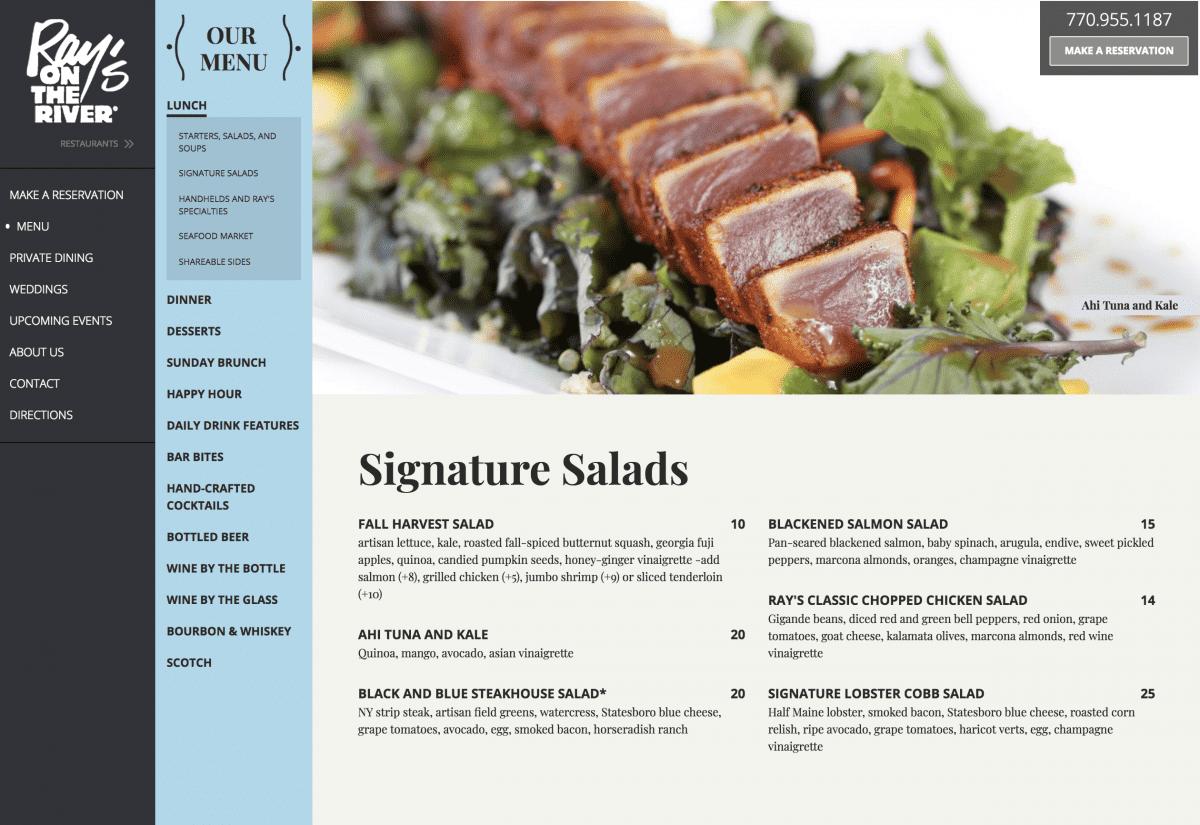 Image of website for Ray's Restaurants
