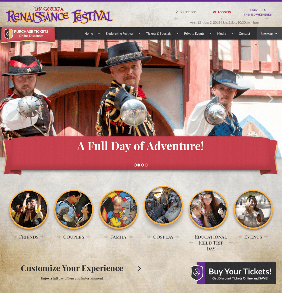 Image of website for Georgia Renaissance Festival
