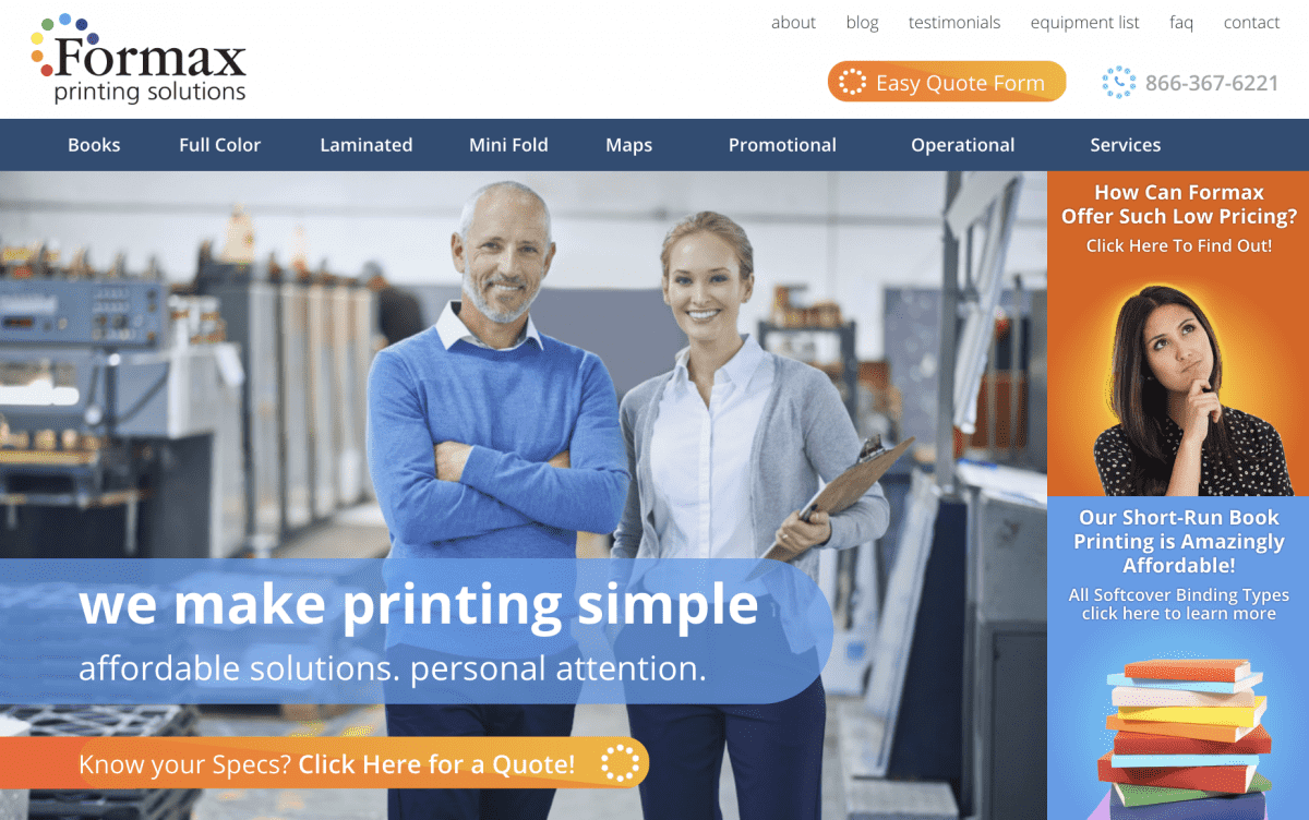 Image of website for Formax Printing