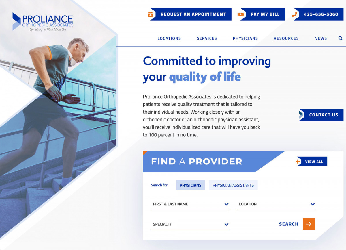 Image of website for Proliance Orthopedic Associates
