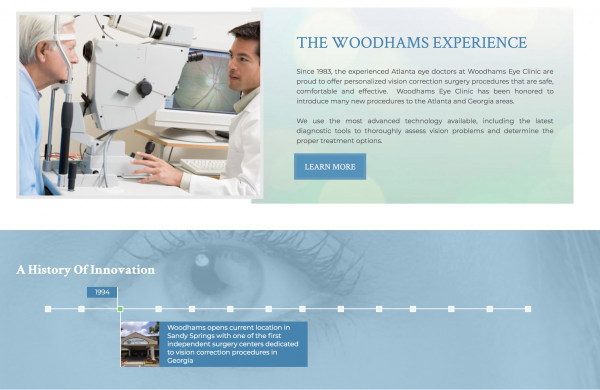 Image of website for Woodhams Eye Clinic