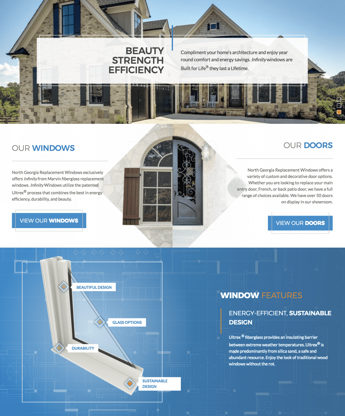 Image of website for North Georgia Replacement Windows