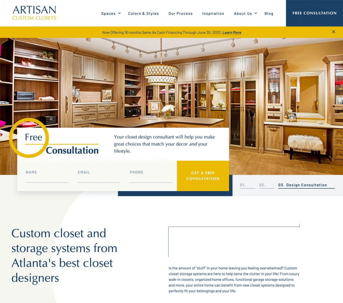 Image of website for Artisan Custom Closets
