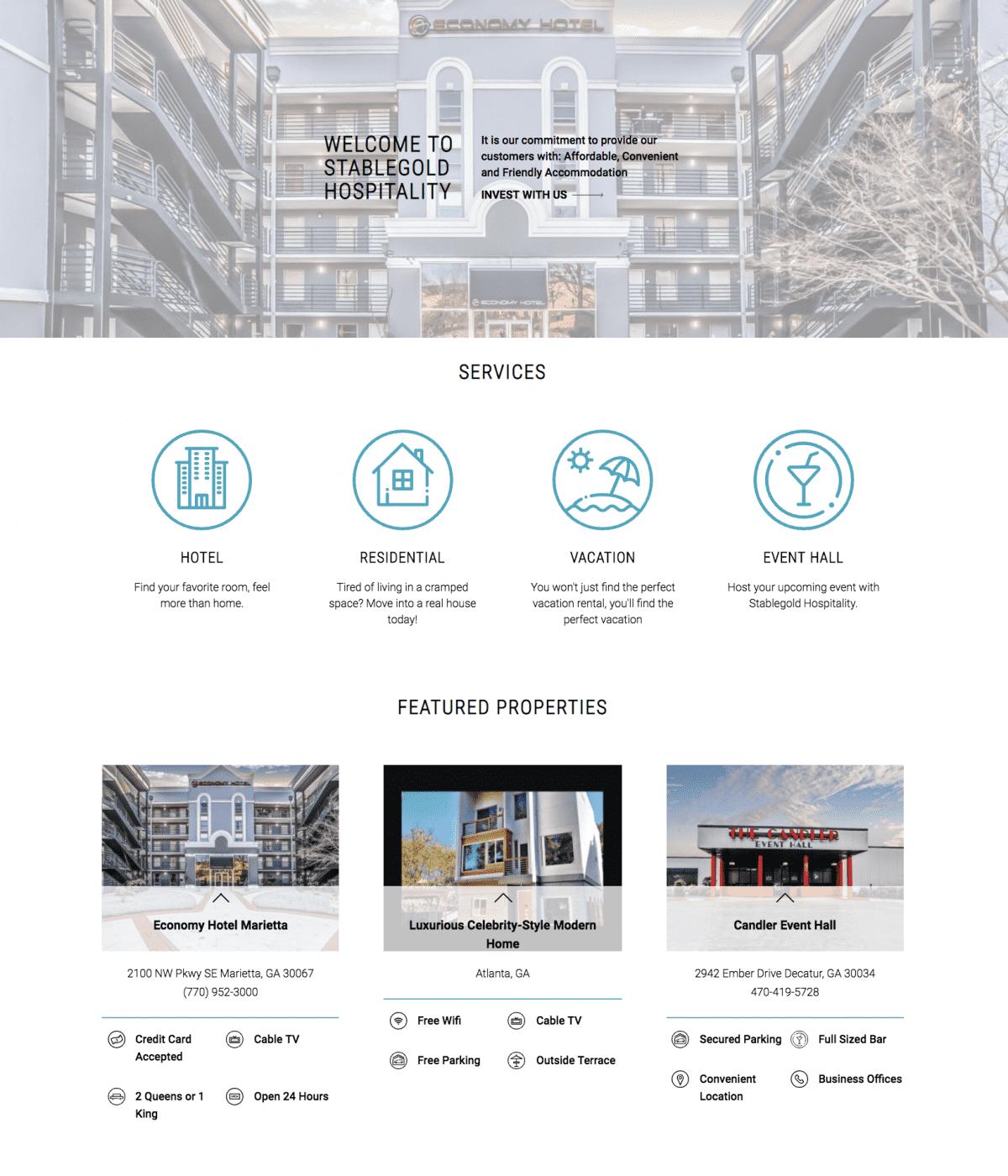 Image of website for Stablegold Hospitality
