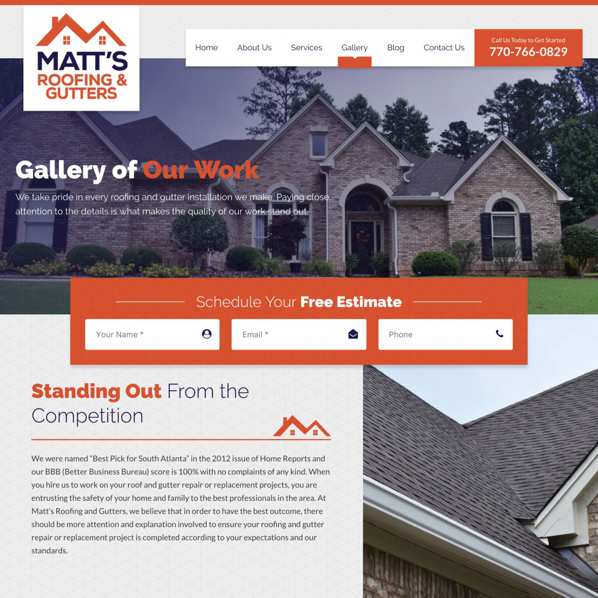 Image of website for Matt's Roofing & Gutters
