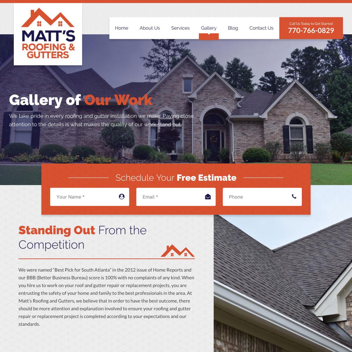Image of website for Matt's Roofing & Gutters