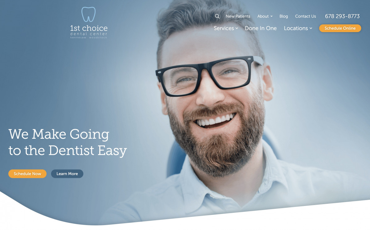 Image of website for 1st Choice Dental Center