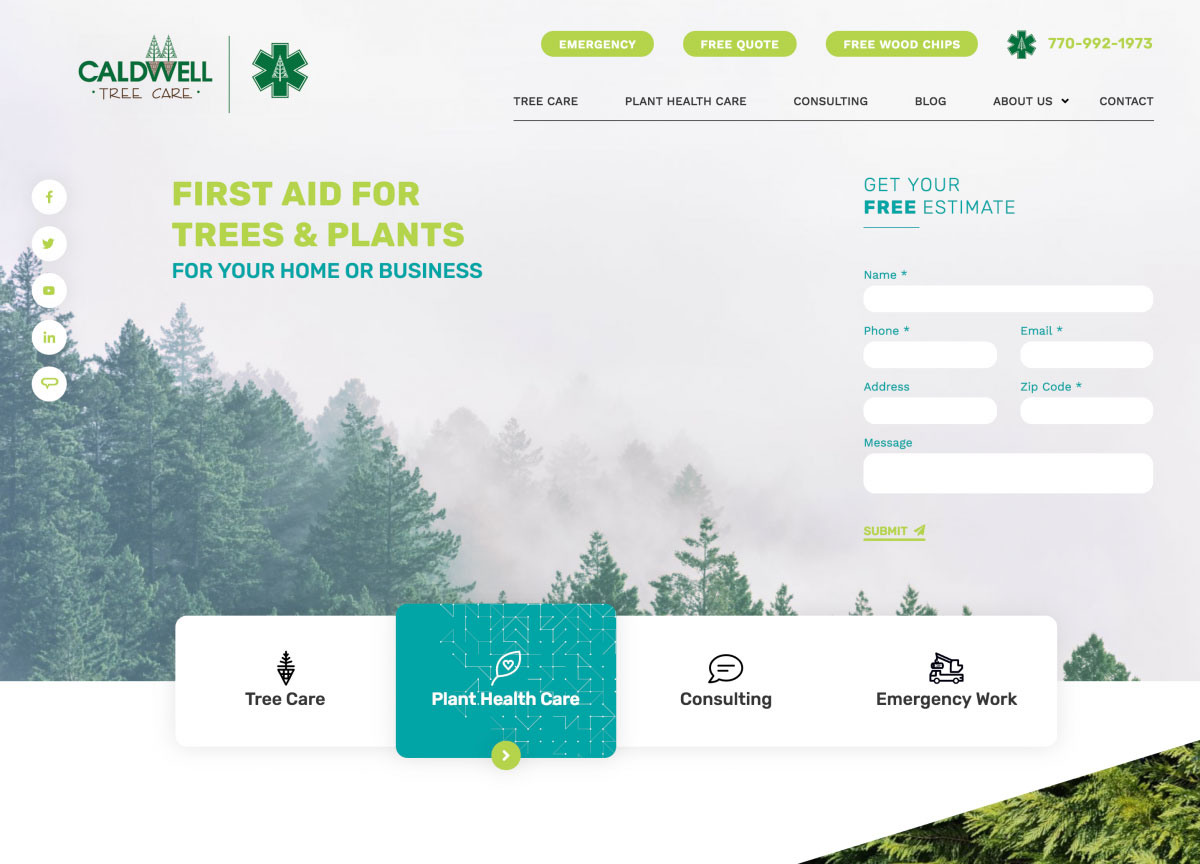Image of website for Caldwell Tree Care