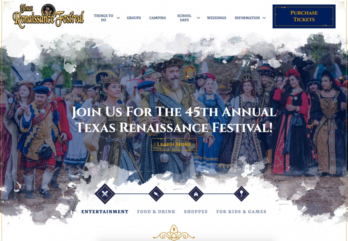 Image of website for Texas Renaissance Festival