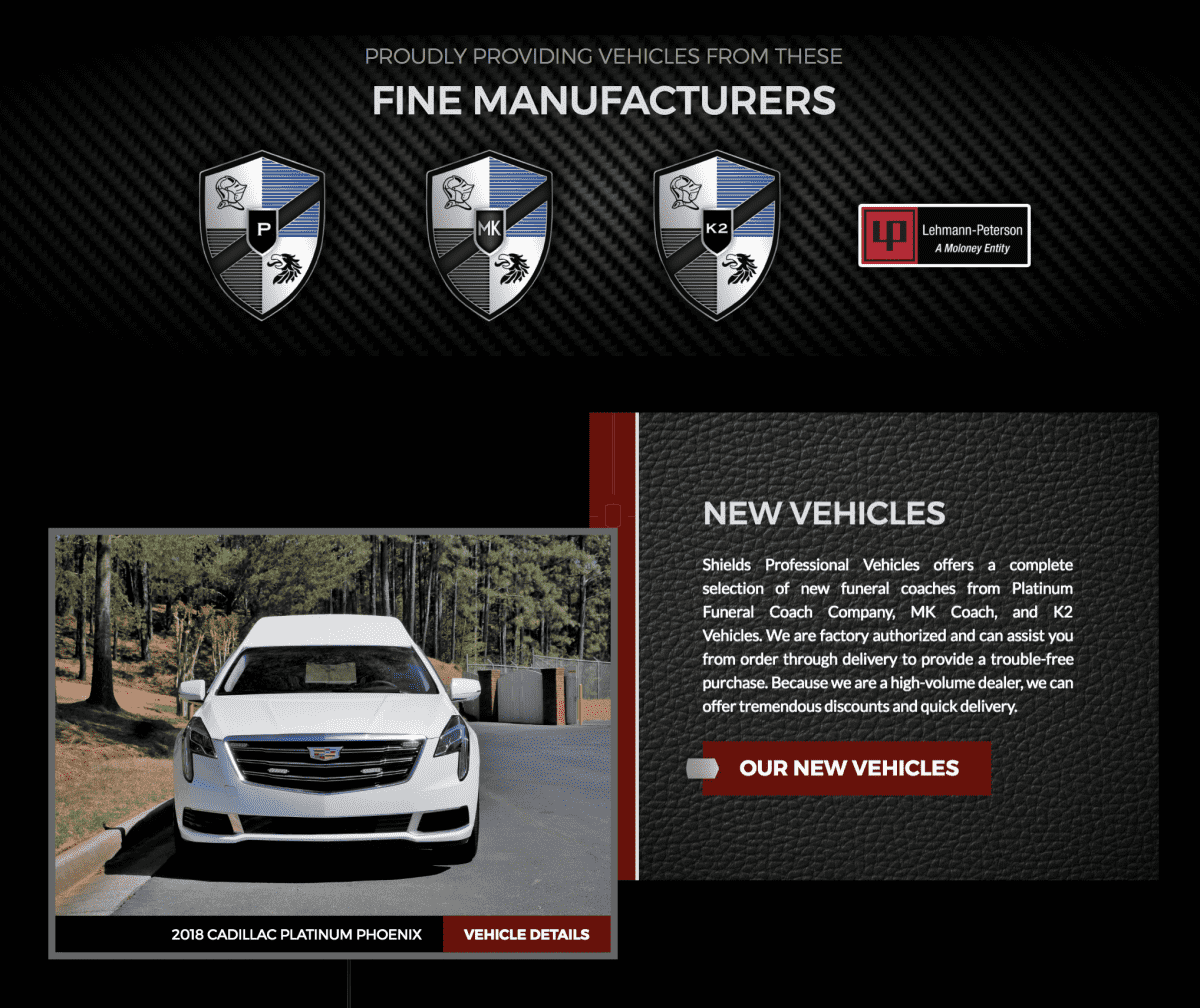 Image of website for Shields Professional Vehicles