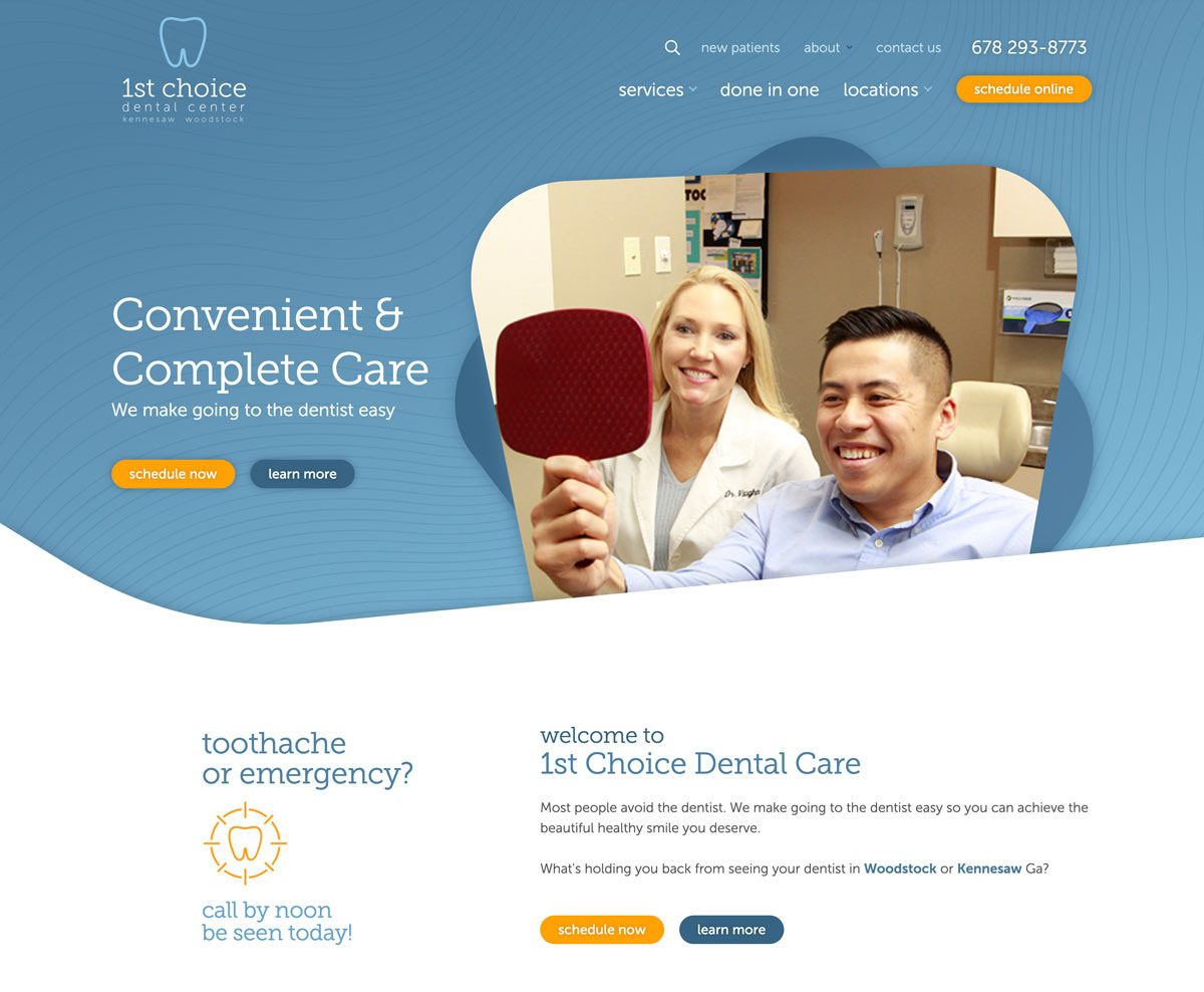 Image of website for 1st Choice Dental Center
