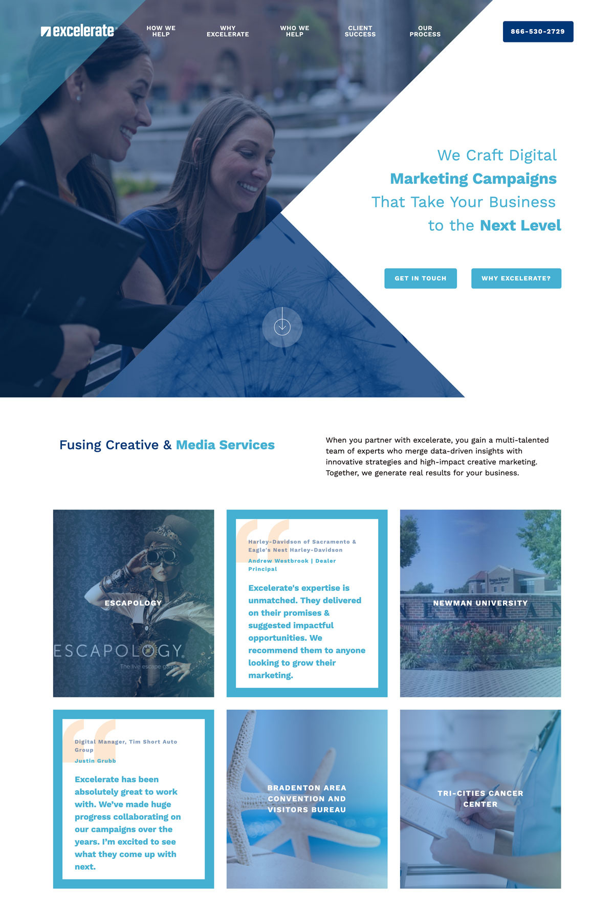 Image of website for excelerate Digital