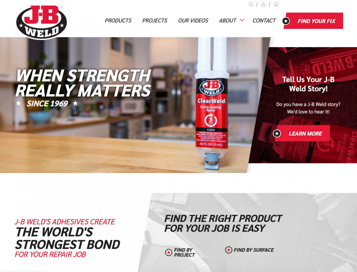 Image of website for J-B Weld