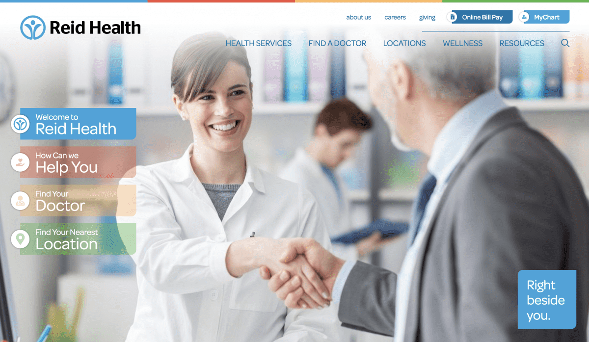Image of website for Reid Health
