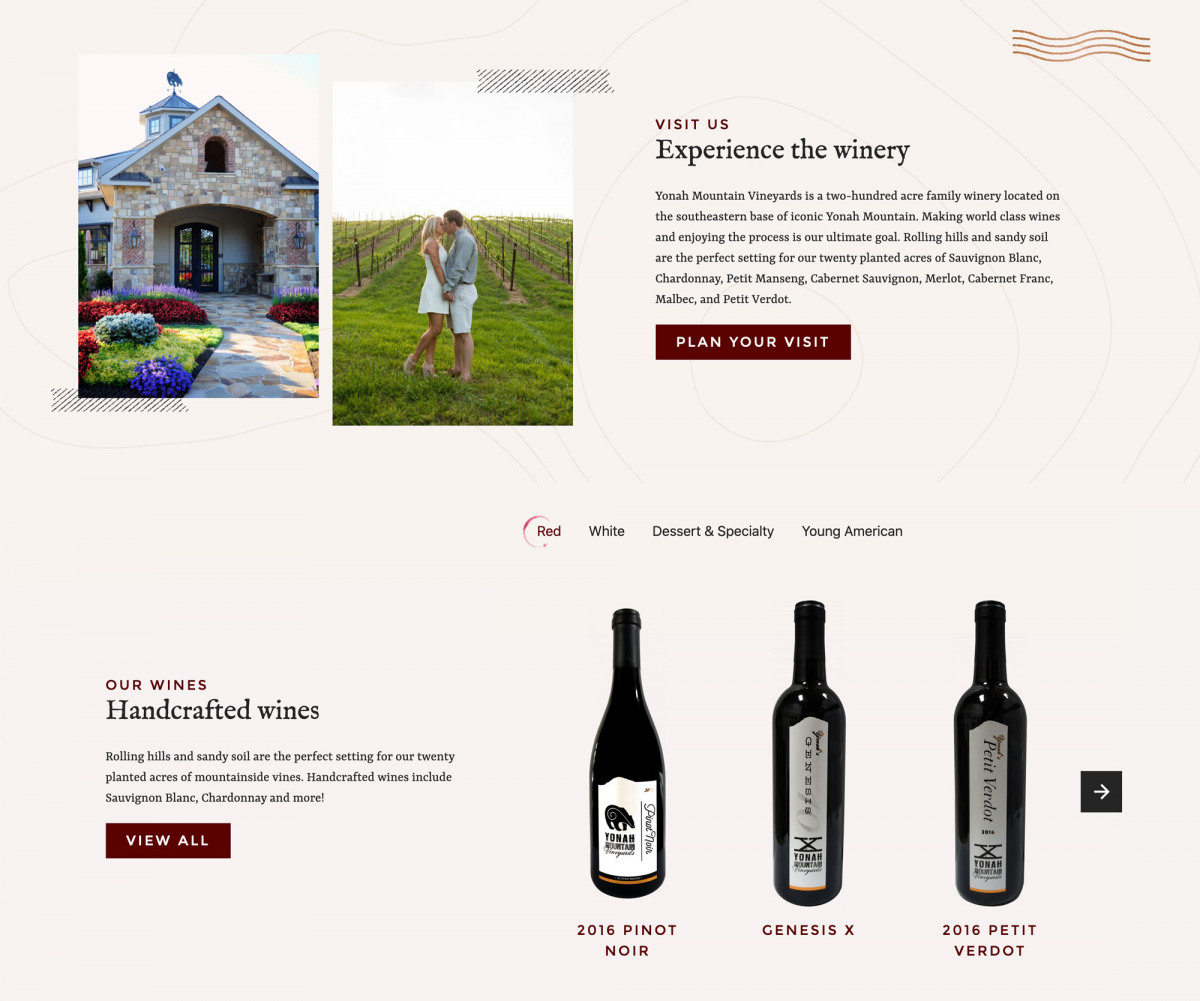 Image of website for Yonah Mountain Vineyards