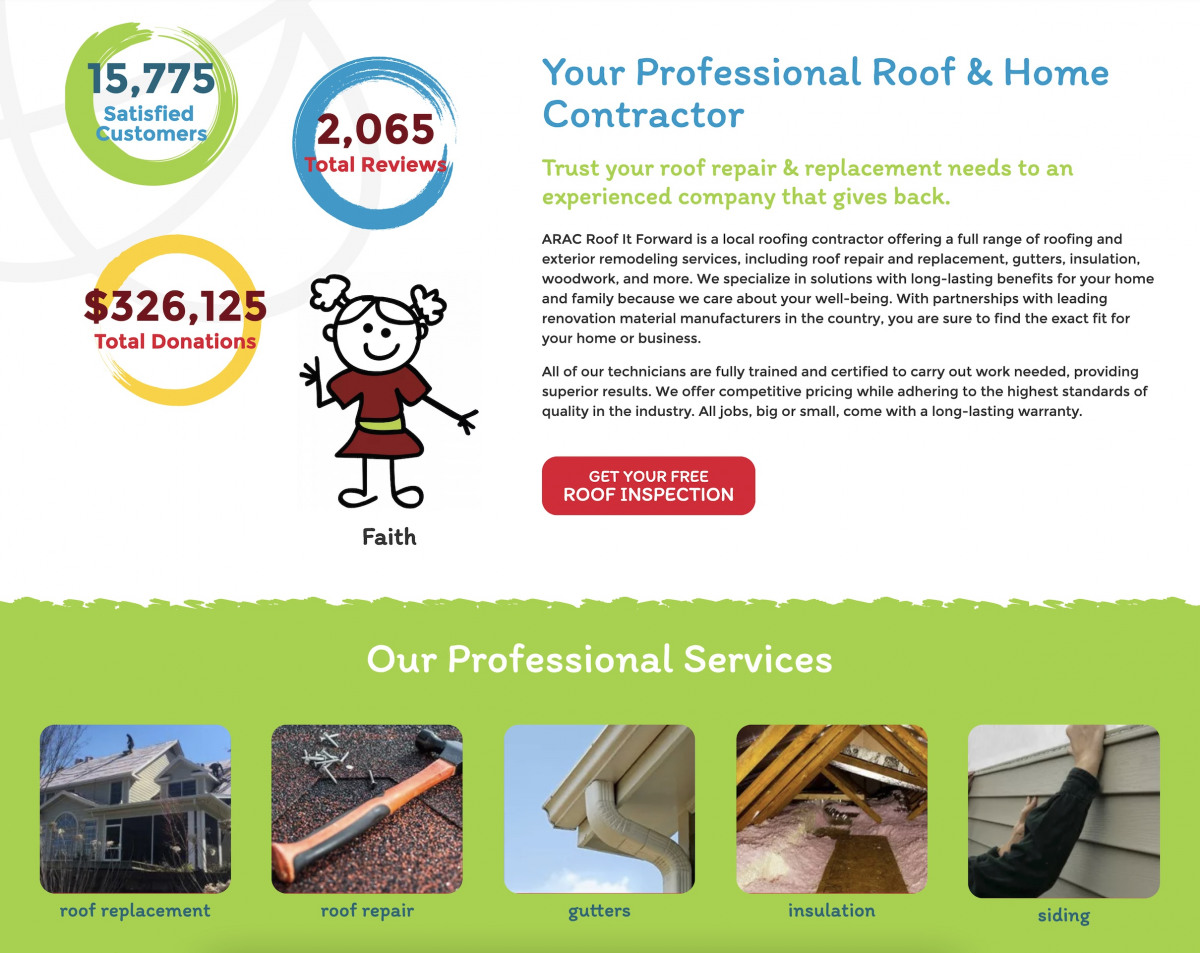 Image of website for Roof It Forward