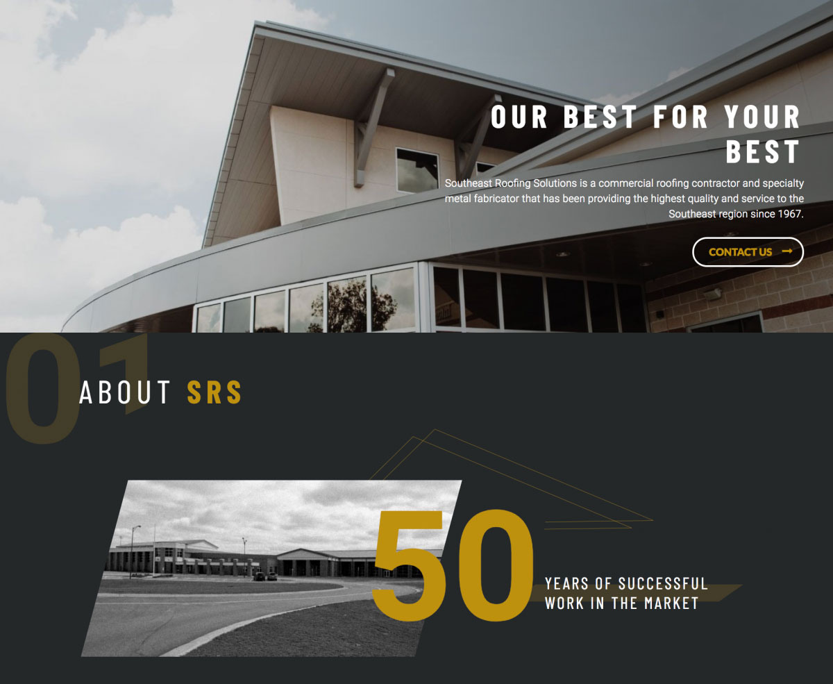 Image of website for Southeast Roofing Solutions