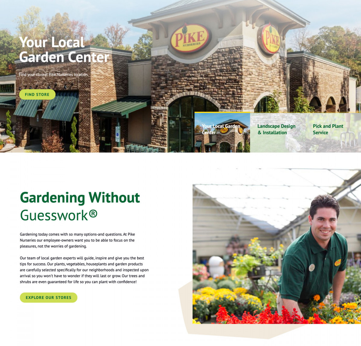 Image of website for Pike Nursery