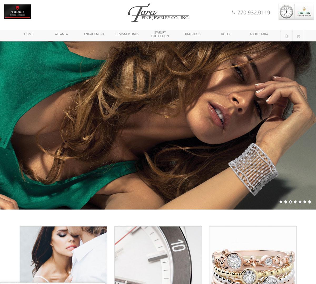 Image of website for Tara Fine Jewelry