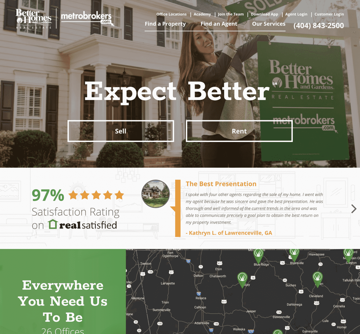 Image of website for Better Homes and Gardens MetroBrokers
