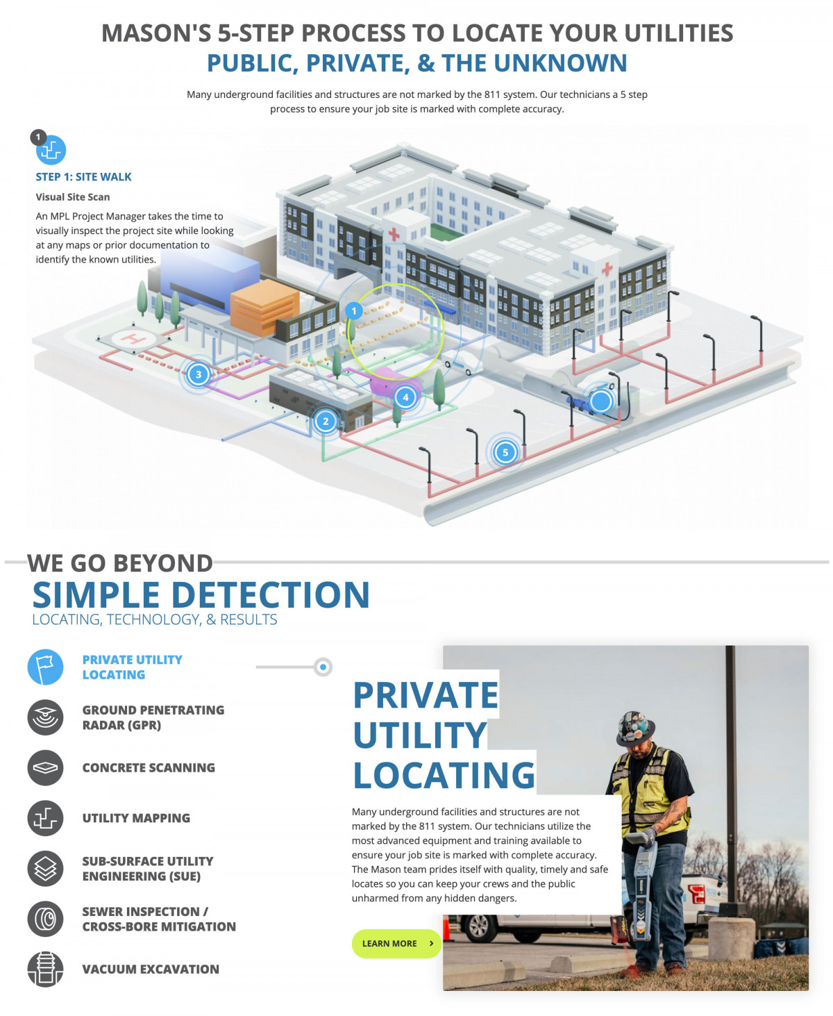 Image of website for Mason Private Utility Locating