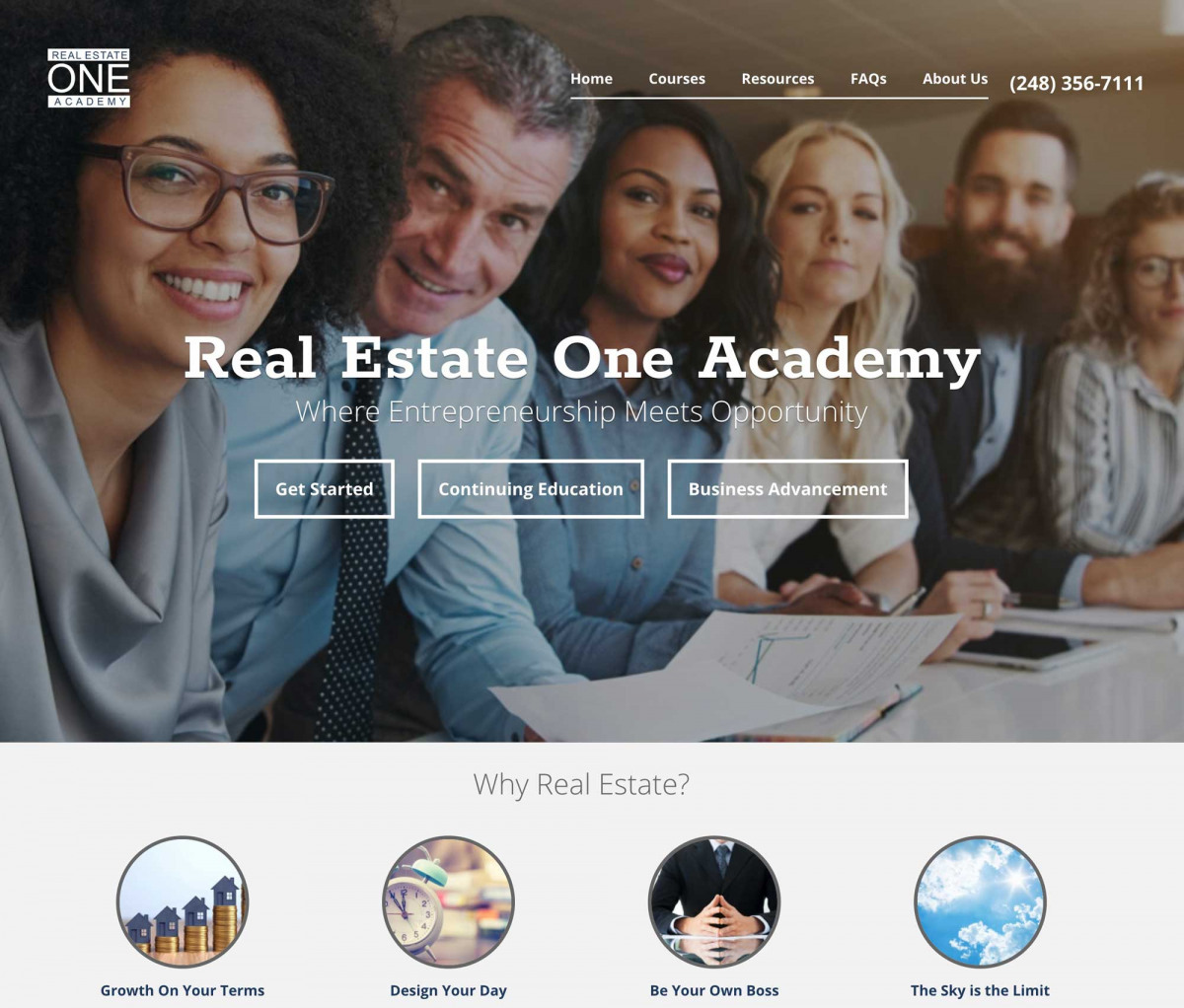 Image of website for Real Estate One Academy