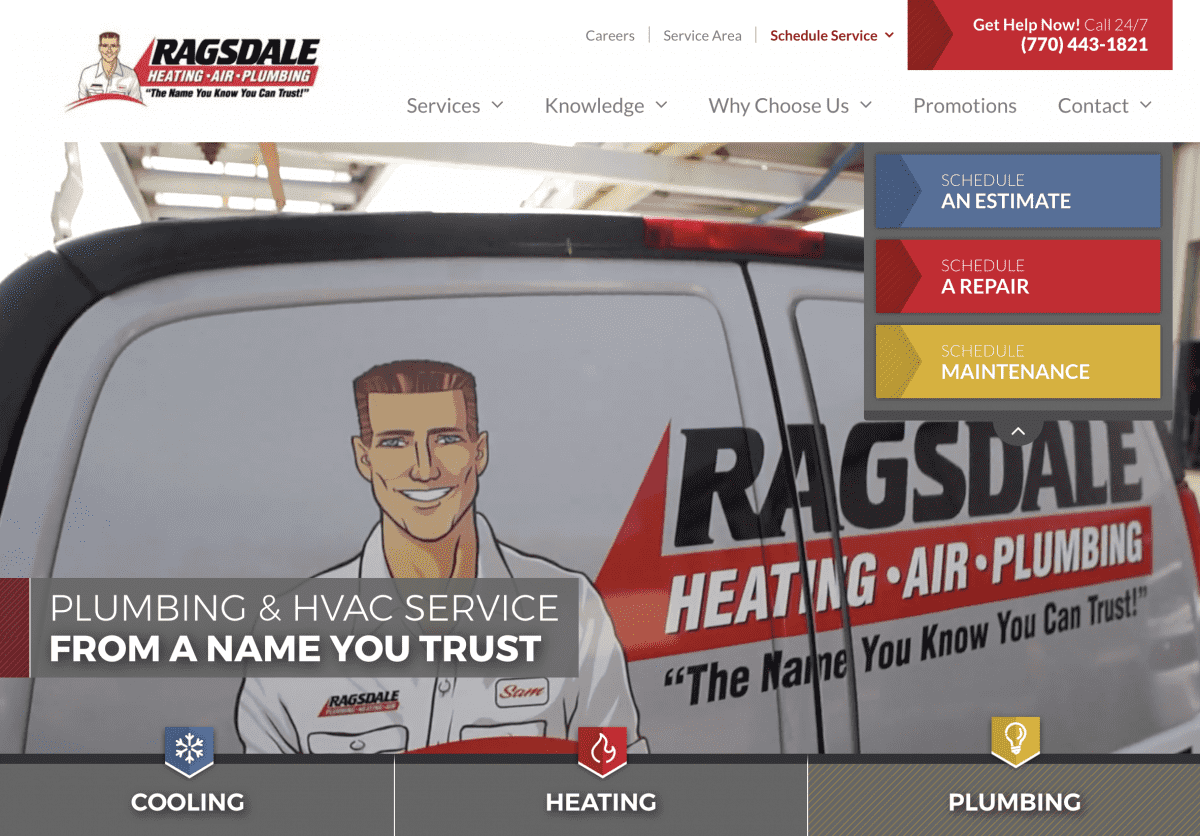 Image of website for Ragsdale Heating & Air