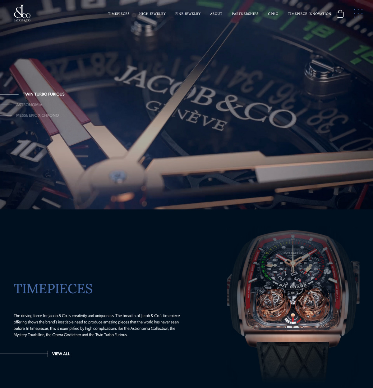 Image of website for Jacob & Co
