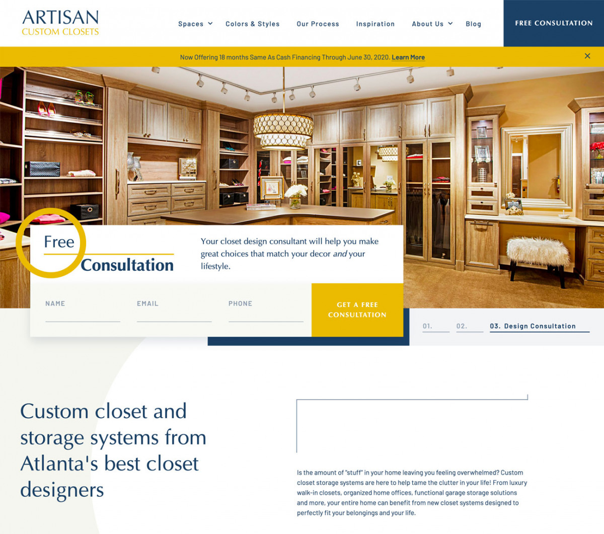 Image of website for Artisan Custom Closets