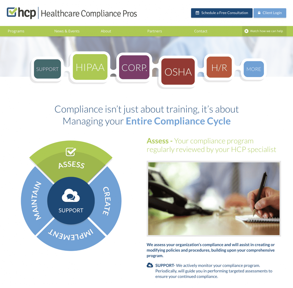 Image of website for Healthcare Compliance Pros