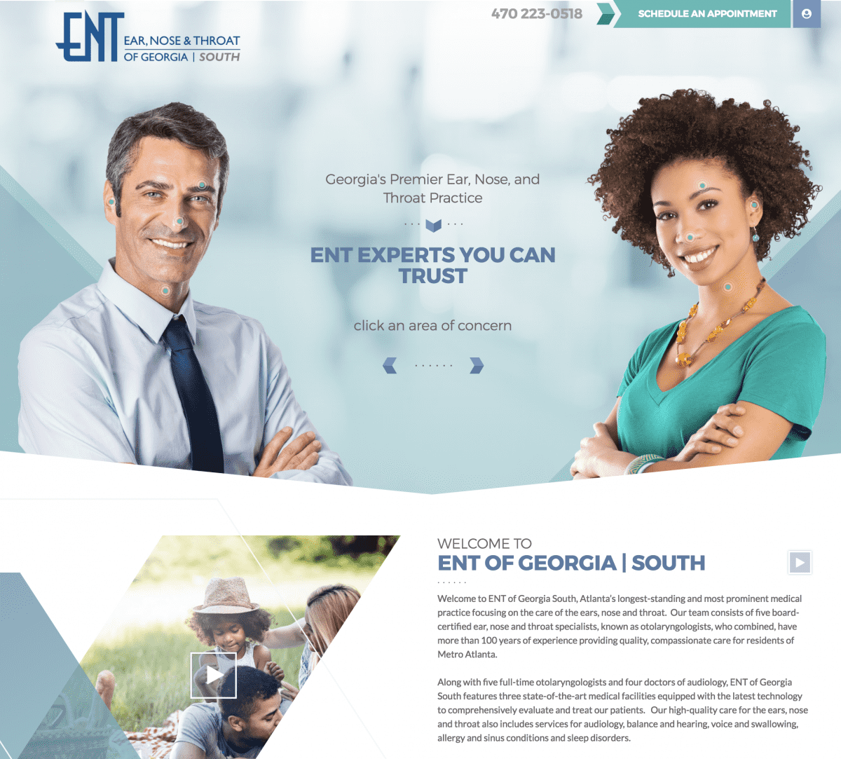 Image of website for ENT of Georgia South