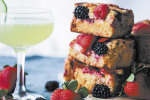 Mixed Berry Blondies and a Cocktail