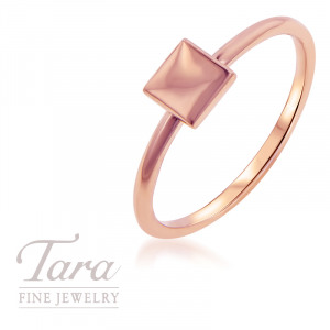 18K Rose, Yellow, or White Gold Square Stackable Ring