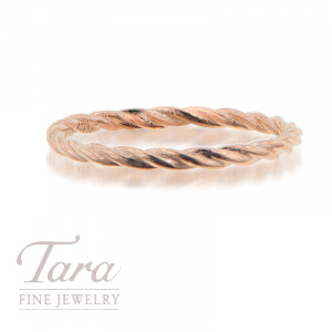 18K Rose, Yellow, or White Gold Stackable Twist Ring