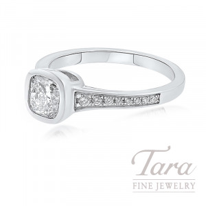 Forevermark 18K White Gold Diamond Bezel Engagement Ring, 1.06CT Center Diamond, .13TDW